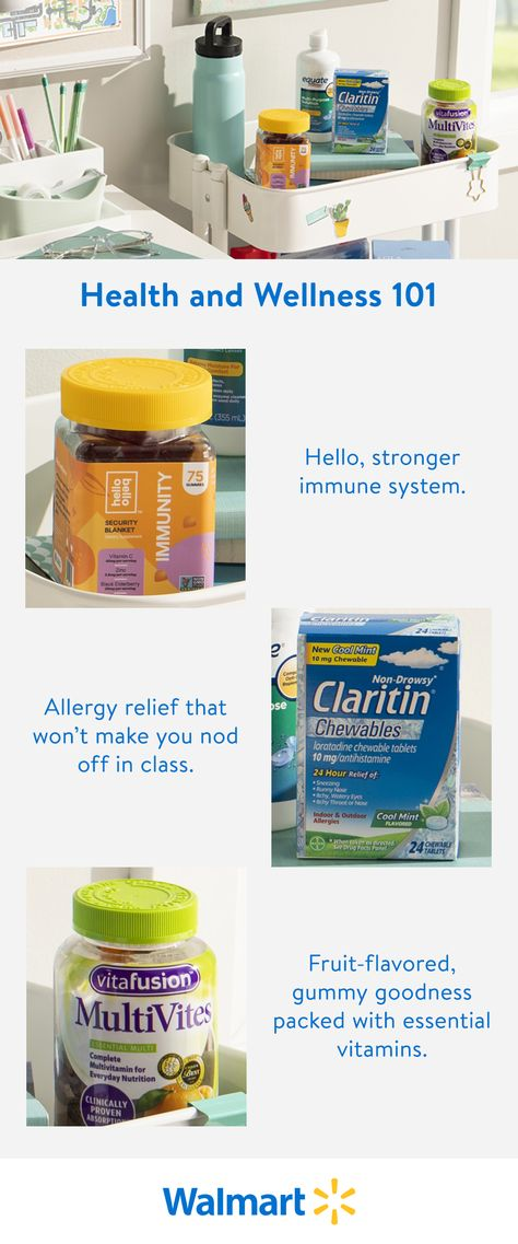 It's hard to be your best when you aren't feeling it. Walmart has allergy relief, multivitamins, and more to keep you on track this school year. Shop popular brands like Hello Bello, Claritin, and Vitafusion online or pick up in-store today.
