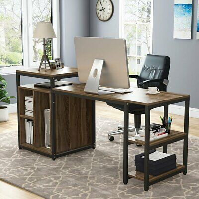 Advertisement Computer Working Desk With Storage Shelf Home Office 47 Desk With 23 Bookcase Modern Home Office Desk Desk Storage Small Room Desk