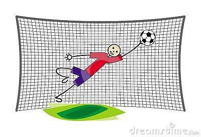 The Football Soccer Goalkeeper At The Gate Catches The Ball In A Jump Little Man In Red And Blue Cartoon Funny Drawings Vector Drawing Vector Illustration