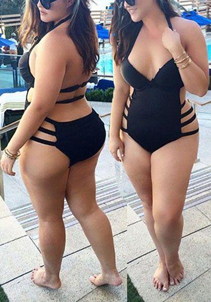 Black Plain V-neck Backless One Piece Plus Size Swimwear For Women - Swimwear - Tops
