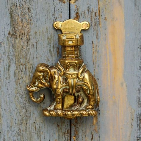 Brass Elephant Door Knocker Handle Vintage Antique Finish Unique Home Decor US