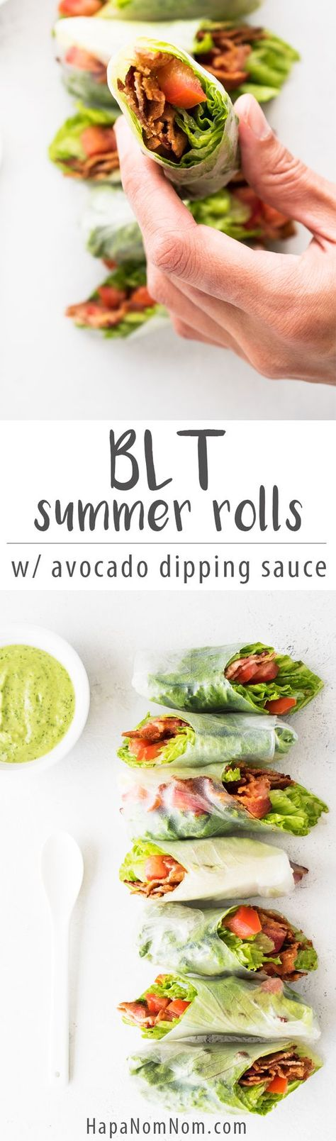 BLT Summer Rolls with Avocado Dipping Sauce