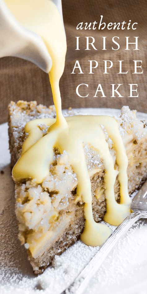 This Authentic Irish Apple Cake is delicious with or without the traditional custard sauce! This Authentic Irish Apple Cake is delicious with or without the traditional custard sauce! Irish Recipes, Sweet Recipes, Scottish Recipes, Fun Easy Recipes, Cupcakes, Cupcake Cakes, Think Food, Breakfast Cake, Food Cakes