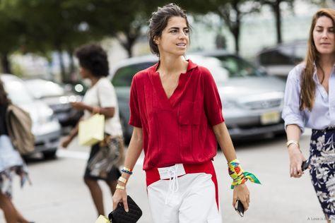 Leandra rocking red. NYC. #LeandraMedine #ManRepeller