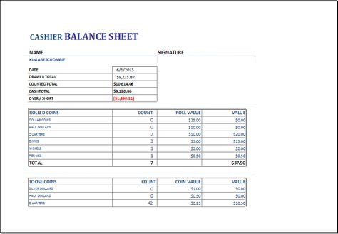 Cashier balance sheet DOWNLOAD at    wwwxltemplatesorg - donation pledge form template