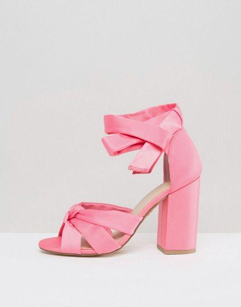 5797b7122f9 New Look Satin Wrap Around Block Heeled Sandals - Pink