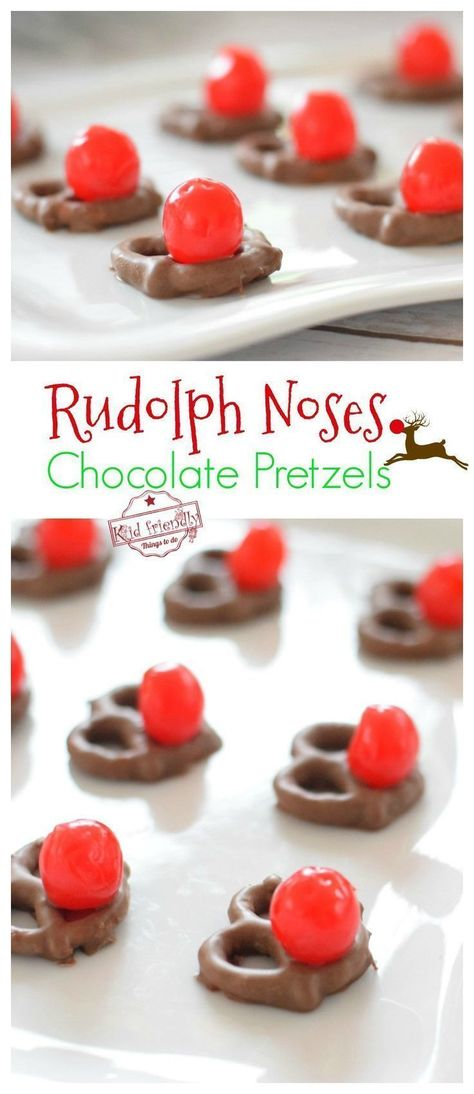 Chocolate Pretzel Rudolph Noses for a Fun Christmas Food Craft Treat