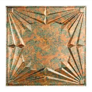 Art Deco 2 Ft X 2 Ft Vinyl Lay In Ceiling Tile In Copper Fantasy Ceiling Tile Art Deco Tiles Ceiling Grid