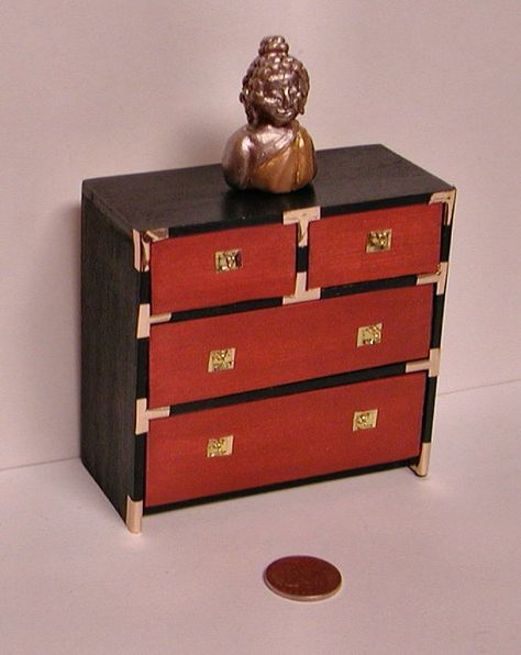 British Colonial Black Campaign Chest Brass Hardware Recessed