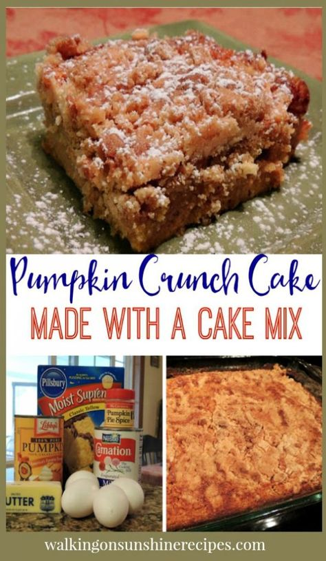Pumpkin Crunch Cake is an easy recipe to make for your family that starts with a boxed cake mix from Walking on Sunshine Recipes. Pumpkin Crunch Cake, Pumpkin Cake Recipes, Dump Cake Recipes, Dump Cakes, Spice Cake Mix And Pumpkin, Pumkin Dump Cake, Easy Pumpkin Cake, Easy Pumpkin Desserts, Spice Cake Mix Recipes
