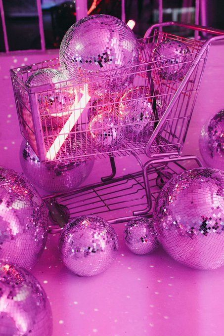 Cart, Pink, Retro , Disco Balls, Neon Light (With images)