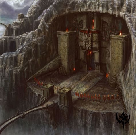 """The entrance to the dwarven kingdom of Buzinbar, ruled by King Throri of Clan Murdinron, uncle to Geofrick. It is carved into the side of the mountain Bizarak. Atop the mountain sits a rock gnome keep, and the two are connected, having grown together over the centuries. Geofrick searches for a book, """"The Abyssal Scripture of Kheli"""", which tells of the omens for the end time in the Prophecy of Asmadan. It is the most treasured possession of Throri, but he hopes to convince him of his need."""