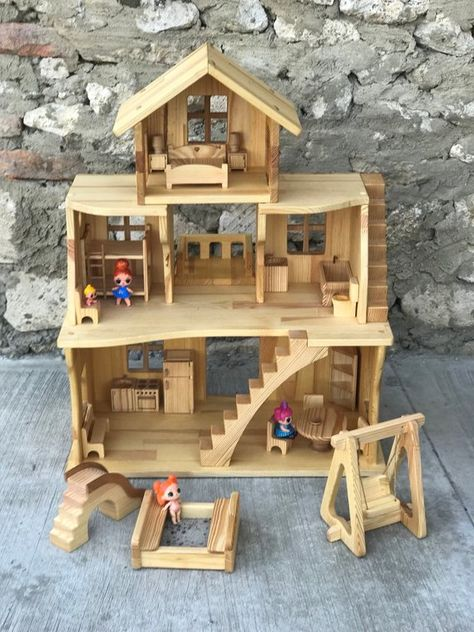 Wooden Dollhouse Stackable Three Story Dollhouse 1 16 Scale Etsy In 2020 Wooden Dollhouse Doll House Wooden Toys
