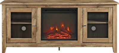 Blaize Natural 58 In Console With Electric Fireplace Electric