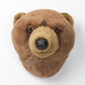 Trophée peluche tête d'animal 100% polyester et fibres Trophy Ours brun clair