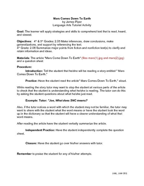 Mars Comes Down To Earth Language Arts Tutorial Activity Lesson Plan For 4th 5th Grade Lesson Planet Lesson Planet Language Lesson