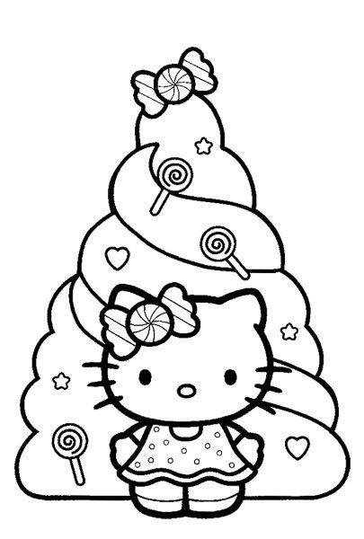 новогодняя раскраска Hello Kitty раскраска страница