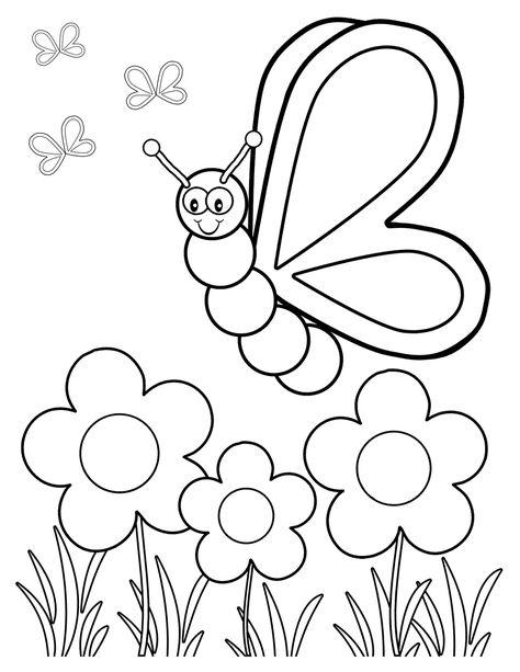 Flor Y Mariposa Para Colorear Paginas Para Colorear De Flores