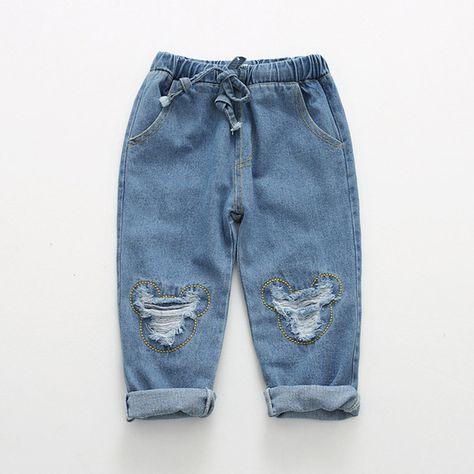 bcba44a2b98 Boys Jeans Winter girls Jeans Kids Pants Cartoon Pattern Design Children's  Denim Trousers Kids Dark Blue Pants Like and share! Visit us