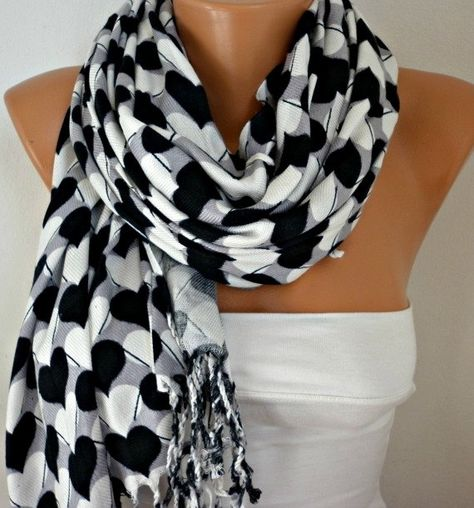 Items similar to Heart Printed Cotton Scarf Shawl Oversized Scarf Pashmina Cowl Scarf Gray - White - Black best selling item scarf on Etsy