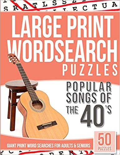 image regarding Free Printable Extra Large Print Word Search identify Superior Print Wordsearches Puzzles Outstanding Tunes of the 40s