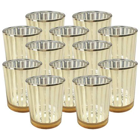 Just Artifacts 2 75 Inch Striped Gold Mercury Glass Votive Candle Holder 12pcs Walmart Com In 2021 Mercury Glass Votives Glass Votive Candle Holders Glass Votive