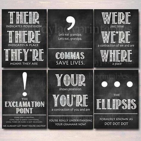 Set of 8 English Grammar Punctuation Posters, Classroom Grammar Art INSTANT DOWNLOAD Classroom Decor, High School English Teacher Printables