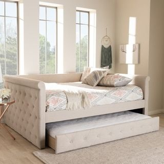 Gracewood Hollow Erdrich Upholstered Daybed With Trundle Daybed