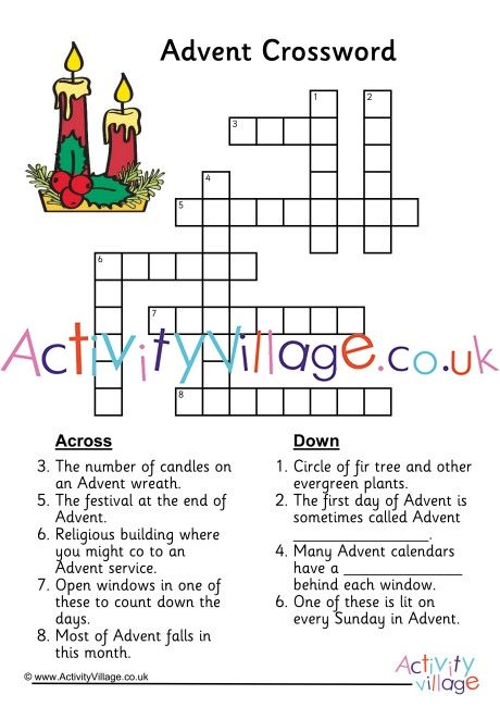 Advent Crossword Crossword Advent Crossword Puzzle