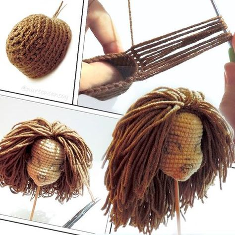 How to Attach Hair to a Crochet Doll - thefriendlyredfox.com | 474x474