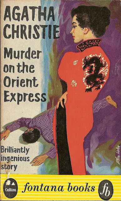vintage Agatha Christie cover art 'murder on the orient express'
