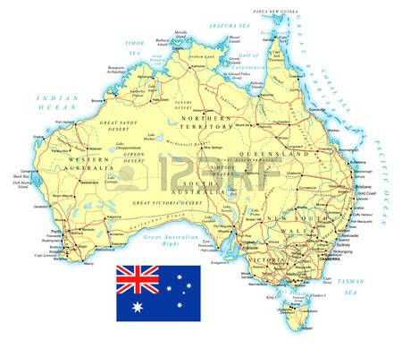 Gran Mapa De Carreteras Detallado De Australia Y La Bandera