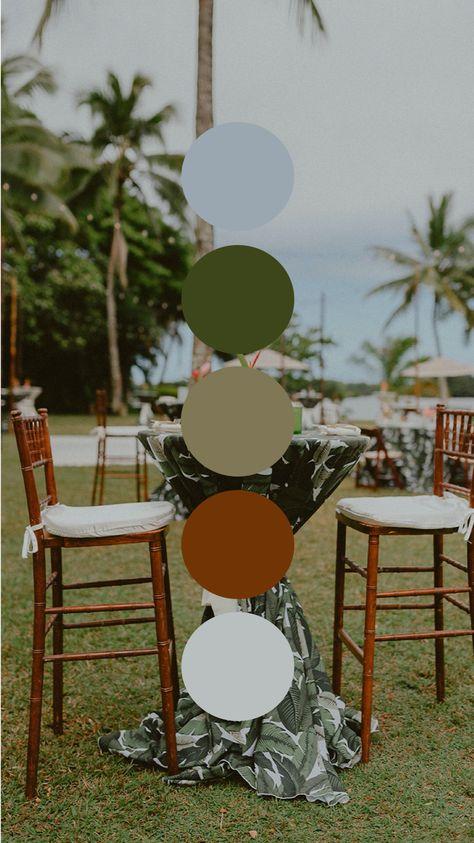 Tropical Pamela Palm Green Cocktail Hour Color Palette Wedding