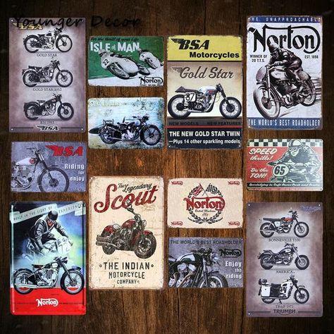 Metal Tin Sign Norton Moto DECOR Pub Bar Maison Rétro Vintage Poster CAFE