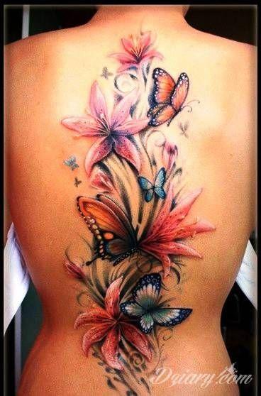 Zobacz Tatuaż Kwiaty I Motyle Na Plecach Tatuaże