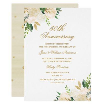 Elegant Gold Watercolor Floral Anniversary Invitation Zazzle Com