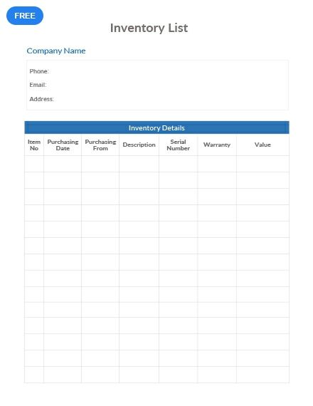Free Simple Inventory List Templates List Template Inventory