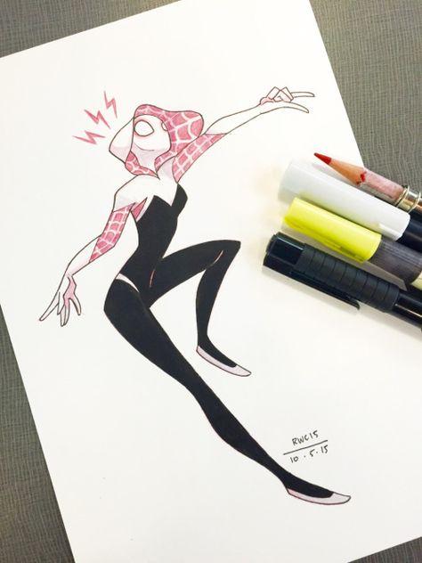 Chanarts • Inktober #5 – Spider Gwen, one of the coolest...