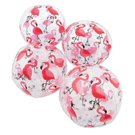 "12 Pink Flamingo Beach Ball Lot Inflatable 16/"" Pool Party Summer Fun Kit Pack"