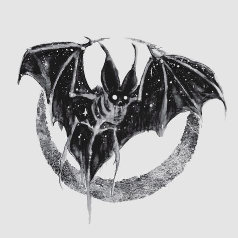 """'Ossein Lunula' / watercolor, silver leaf on board, 5x5"""" • original on sale! Available in my shop, link in bio! 🦇 excited to do more boney…"""