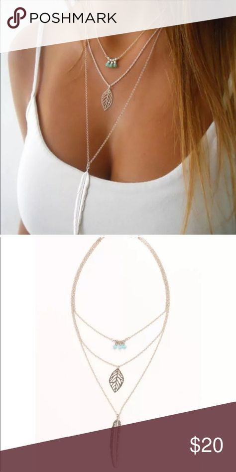 BOGO 50% OFF! Boho Beaded Feather Layered Necklace Who doesn't love a layered necklace?   ☆ Silver  ☆ Comes in plastic packaging to protect the necklace. ☆ In stock: 1 Giuliana + Madison Jewelry Necklaces