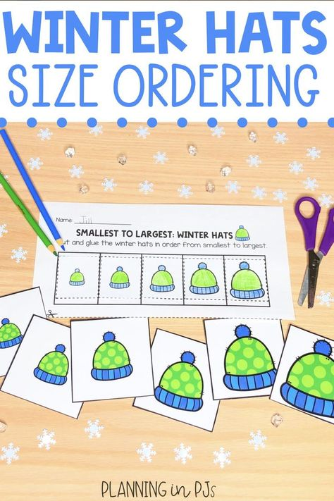Winter Hats Size Ordering From Smallest To Largest Winter Theme Winter Theme Student Activities Winter Hats