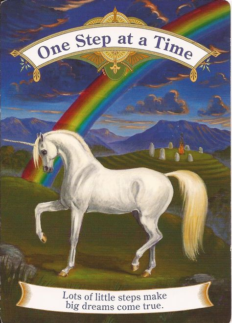 One Step a Time - Magical Unicorns - Doreen Virtue Doreen Virtue, Oracle Tarot, A Course In Miracles, Psychic Mediums, Angel Cards, Magical Unicorn, Card Reading, Tarot Cards, Spirit Animal