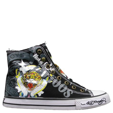Black Ed Hardy Highrise Sneaker for Kids