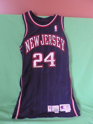 detailed look 994e6 651f1 2000-2001 stephen jackson new jersey nets game used jersey ...