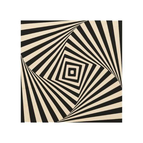 Modern Optical Illusion Black and White Novelty Wood Wall Decor | Zazzle.com