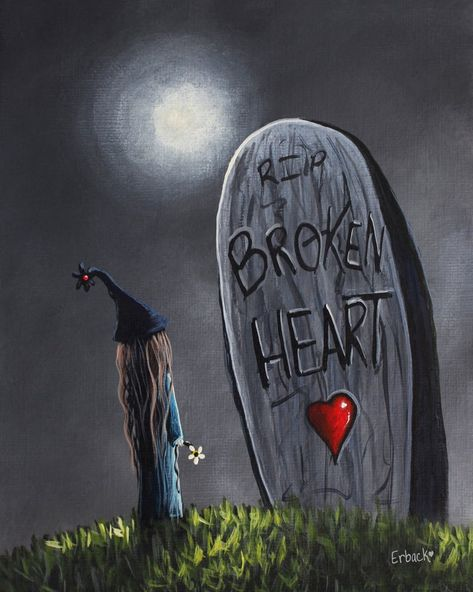 Gothic art prints grave art fantasy art broken hearts wall | Etsy