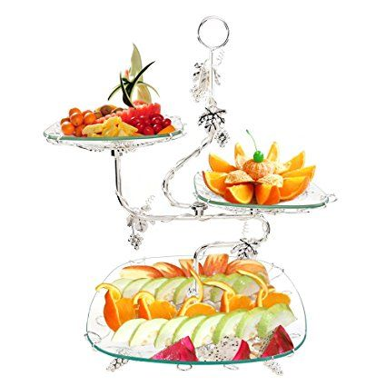 3 Tiered Glass Server Trays Stand Serving Platters Dishes Rectangle Plates Decorative Tabletop Centerpieces Display Food Fruit Ca Obstbuffet Obst Fruchtekuchen