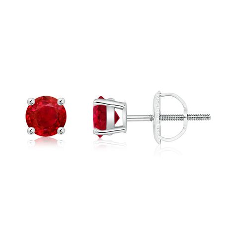 b93ddcd1a6 The round rubies look bold and refined in a 14k gold basket prong setting.
