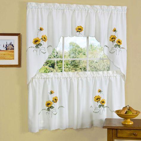 Sunshine Sunflower Tier Swag Kitchen Window Curtain Set Sunflower Kitchen Sunflower Curtains Kitchen Curtain Sets